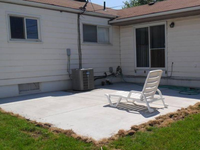 backyard cement patio
